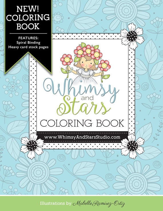 Coloring book w spiral binding by whimsyandstarsstudio on etsy Coloring books for adults spiral bound