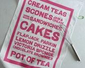 CAKES screenprinted typographic tea towel