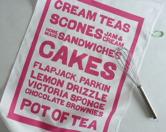 CAKES screenprinted typographic tea towel
