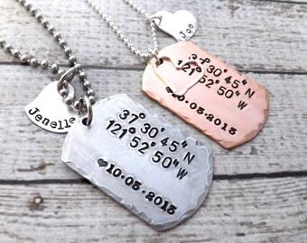 GPS Coordinates necklace-handstamped-personalized necklace-sterling silver-copper- dog tag-GPS coordinates-men-womans-set
