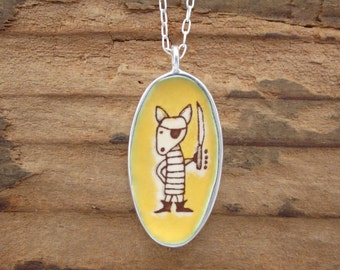 Dog Necklace and Narwhal Necklace - Reversible Enamel and Sterling Silver Pirate Pendant
