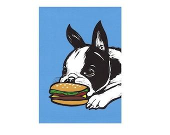 Boston Terrier Cheeseburger Print