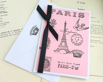 Paris Blank Card.Eiffel Tower.Parisian Chic.All Occasion Card.Blank.French.Paris Bridal Shower.Made to Order.Pink Black.Light Pink.handmade