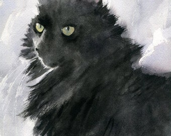 Black Cat Art Painting PRINT Watercolor painting  Rachel Parker rachelsstudio Artist Artwork Custom hand painted handmade huge large big