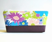Makeup Bag, Cosmetic Case, Zipper Pouch, Women and Teens, Lazy Daisy in Plum, Dreamin' Vintage