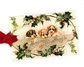 Christmas Gift Tags , Christmas Puppies , Holly , Dog Lovers , Baby Animals