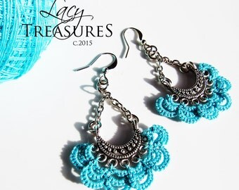 Turquoise Earrings . Turquoise chandelier earrings . Turquoise silver Boho earrings . Long dangle earrings  . Lace Jewelry Gift unique