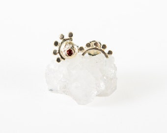 Sterling Silver Oriana and Sunrise mismatched stud earring with garnet
