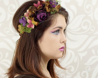 Autumn Flower Crown, Autumn Headpiece, Deep Purple, Rose, Chocolate, Woodland Headpiece, Floral Wreath,Wedding, Rustic Wedding, Bridal Crown