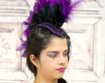 Feather Mohawk Headpiece, Mohawk, Black and Purple, Tribal, Headpiece, Costume Headdress, Hat, Fantasy, Gothic, Cosplay