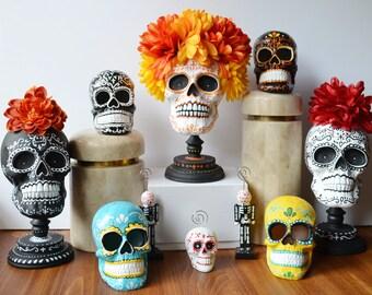 Day of the Dead Skull Black and White Classic Skull