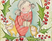 a watercolor painting of a little girl with her cat and teddy bear, 8 x 10 folk art limited edition archival print, cori dantini