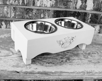 Elevated Dog Feeder, Dog Bowl Holder, Feeding Stand, White Cottage Chic Custom