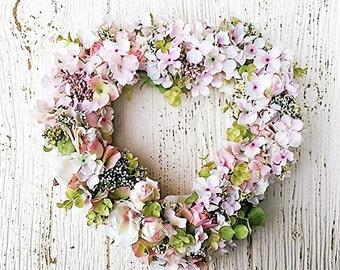 Baby Girl . Hydrangea Heart Wreath . Nursery