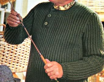 Knitting Pattern Fisherman's Sweater Pattern FRENCH Men Bulky Weight Yarn Vintage Paper Original NOT a PDF