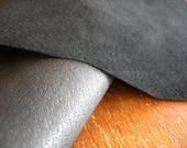 "Leather Scrap BLACK Garment Quality sueded thin 1 piece 7"" x 9"""