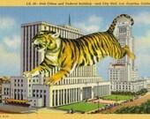 LA California Postcard, Old Post Office, Strange Postcard, Retro Los Angeles Art, Tiger Artwork, Going Postal, Animal Collage, Tiger Gift