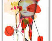 "ORIGINAL Collage Drawing, Abstract Portrait,  Acrylic, Watercolor- Illustration Art  by Christina Romeo......""Selling Time"""