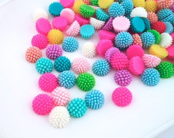 12 assorted 12mm pom pom mum cabochons, multicolor round floral chrysanthemum flower cabs