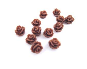 12 brown rose cabochons 7.5mm