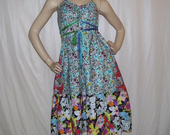 Sugar Skull Sundress Geek Sundress Turquoise Day of Dead Dress Ruffle Resort Red Blue Halloween Party Dress M L XL Adult Colorful Dress