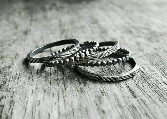 Sterling Silver Stackable Rings, Textured Rings, Stacking Ring Set, Oxidized Silver Ring, Thin Silver Ring, Rugged Ring, Tread Ring