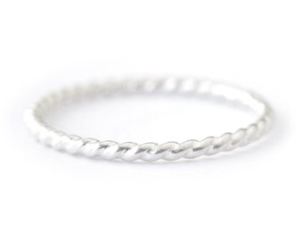 Sterling twist ring - silver stacking ring - delicate silver ring - rope ring - silver band - simple dainty jewelry - Aerin ring 1.3mm
