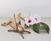 Vintage Brass Cricket Figurine - grasshopper insect bug - paperweight home decor