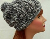 Slouch Hat with Pompom Women Black White Adult Accessory Ready To Ship