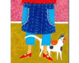Calico Cat Folk Art Painting Do-si-do Cat leg dance for food CUTE ORIGINAL acrylic painting by Tascha