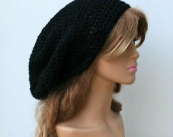 Slouchy Beanie, cotton black Tam hat, Dreadlocks hat, Hippie Beanie Hat, Bohemian woman/man beanie, slouch hat, dread tam hat, sock tam hat