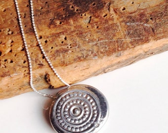 Etsy, Etsy Jewelry, Pewter Tribal Necklace, Sterling Chain, Hand Cast, Sand Cast, Artisan Pendant, Tribal Pendant