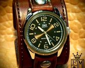 Leather Watch Vintage cuff Chocolate brown bridle leather + Matching cuff for Rackel
