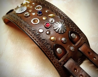 Leather cuff Bracelet Brown Jeweled, studded, stamped, Pirate Treasure cuff made for YOU in NYC by Freddie Matara!