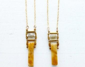 Yellow Calcite + Labradorite + Opal stone pendant//Gold plated chain//Stone Chakra necklace//Meditation//Solar Plexus// Yoga practice//
