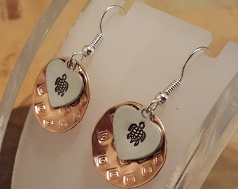 Sea Turtle hand stamped mixed metal copper and aluminum textured layered french hook earrings