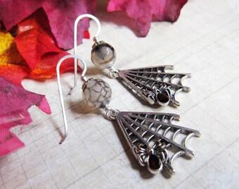 The Web Weaver Earrings - Halloween Spider Web and Agate Earrings