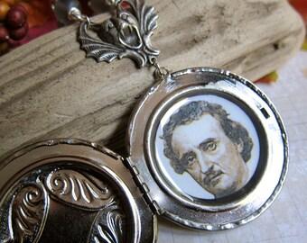 Edgar Allan Poe Spectral Hands Locket Pendant in Antique Silver