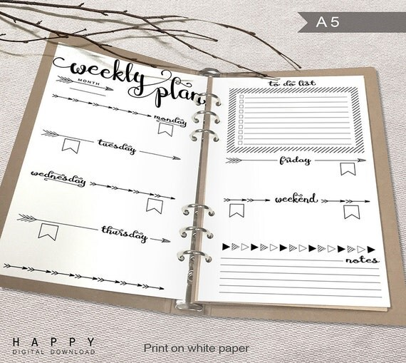 printable weekly planner a5 weekly planner by