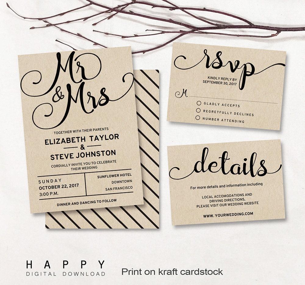 Wedding Invitation Templates: Printable Wedding Invitation Set Editable Modern Wedding
