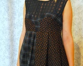 Tawleed Bubble Dress MEDIUM-LARGE Tweed, Tartan, Wool Suiting, handmade, formal, eco fashion, one of a kind, upcycled, fits sizes 8-12
