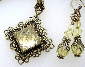 Shimmering Sunlight - Jonquil Glass Pendant with Earrings - Yellow Glass Antiqued Brass Pendant Victorian Style Pendant