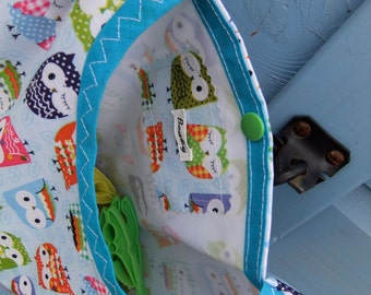 Lots of Owls - Blue - 2 in 1 peg bag / Clothespin bag - Original Beaky design