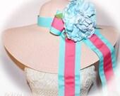 Monogrammed Pale Pink Floppy Hat Blue & Pink Bow and Hat Band, Pantone Colors, Designer Dress Colors, Carolina Cup, Derby, Easter, Bride