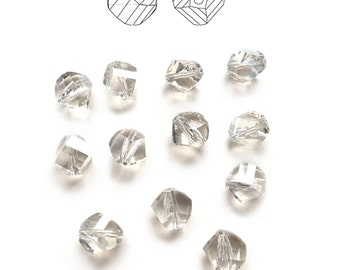 12pcs Swarovski 5020 10mm Helix Faceted Crystal Beads in Silver Shade - Rare and Discontinued