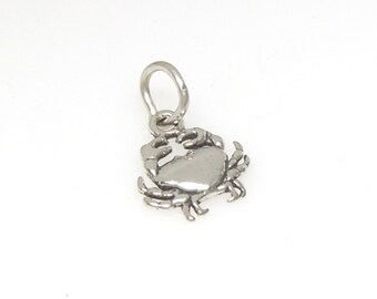 Crab Sterling Silver Sea Life Zodiac Cancer Mini Charm for Bracelet or Anklet no. 1733
