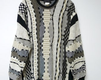 Bueckle Manner Maschen Mode . Coogi style . 80s 90s wool sweater . fits a large to extra large