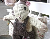 Knit Stuffed Bunny Doll, Hand Knit, One of a Kind, Collectible Heirloom Knit Animal Doll