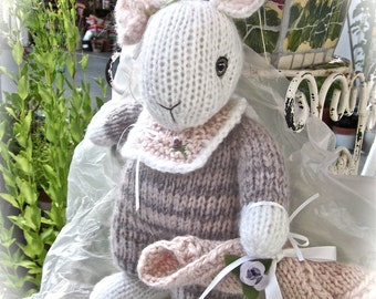 Knit Stuffed Bunny Doll; Hand Knit, Collectible Heirloom/ Amelia, One of a Kind