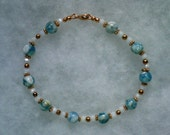 Blue Shell Beads White Luster Glass Beads and Copper Beads in a Copper Bracelet